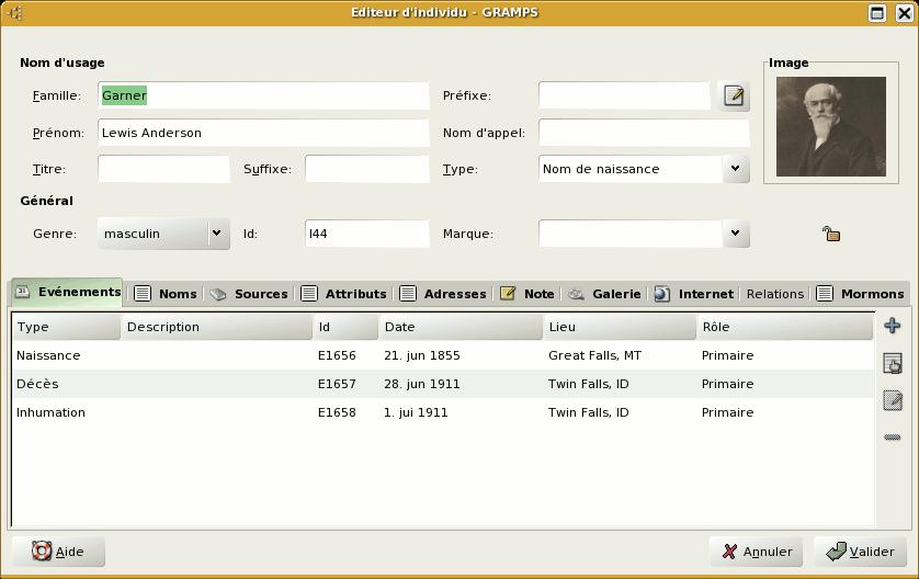 attributs de datation