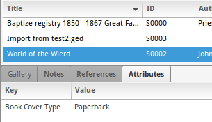 Enabled Attributes gramplet for Source and Citation objects