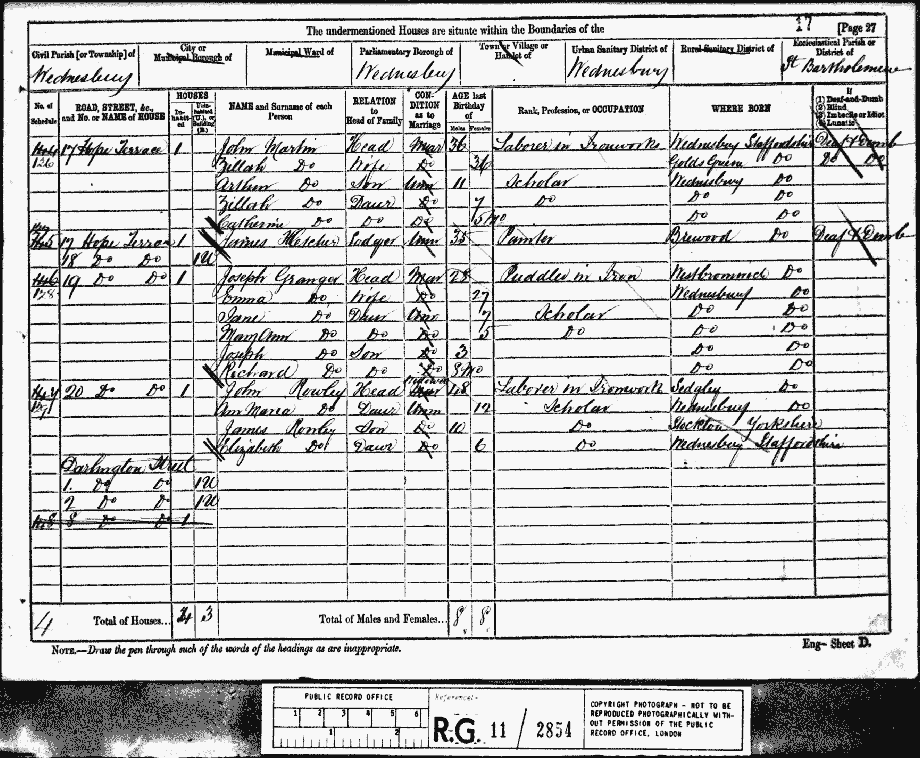 The Census return for John Martin in 1881