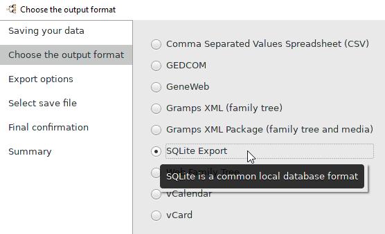 SQLite Export Import - Gramps