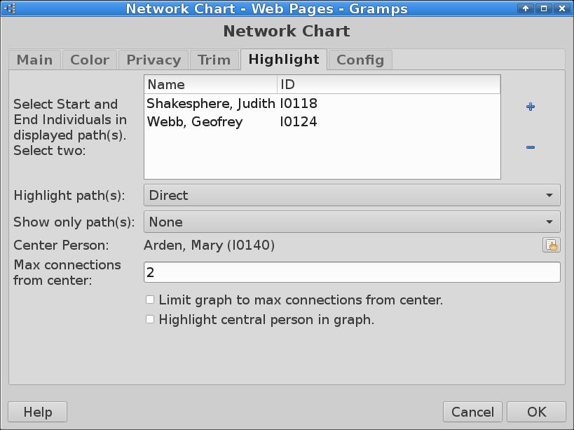NetworkChart - Gramps