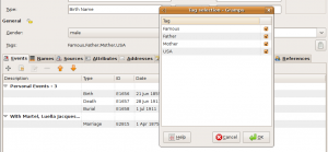Fig. 6.8 Tag selection in the Person Editor